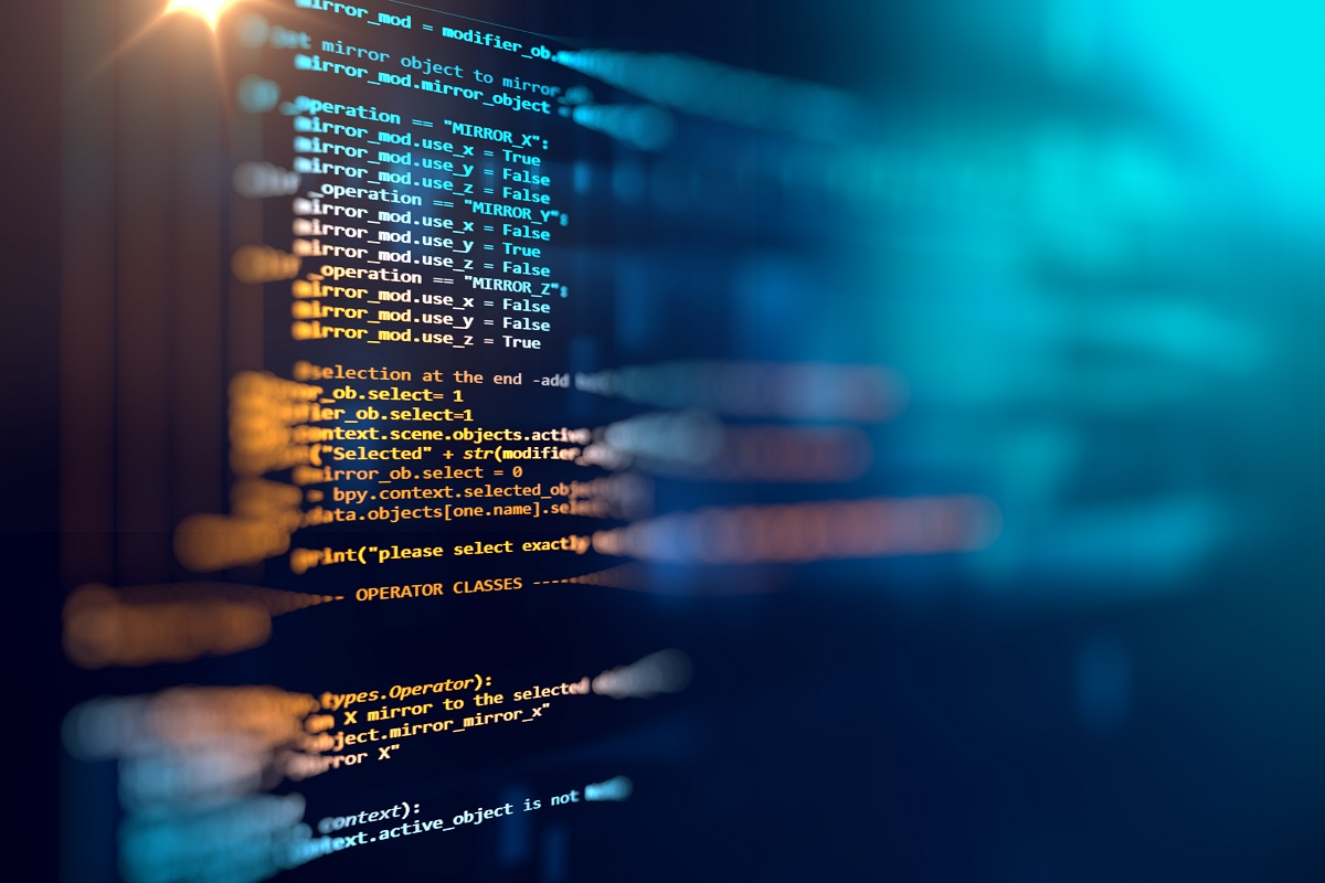 Programming code abstract technology background of software deve